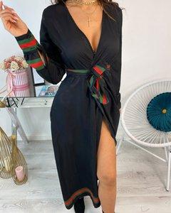 Seksi Yeni Casual Barok Baskı V yaka Uzun Kollu Elbise gelinlik Beach Gevşek Gömlek Etek Boyut S-2XL Womens