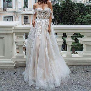 Sweetheart Off Shoulder Lace Appliques Wedding Dress 2021 Short Sleeves Women Bridal Gowns A-Line Spring Garden Robe De Mariage Custom