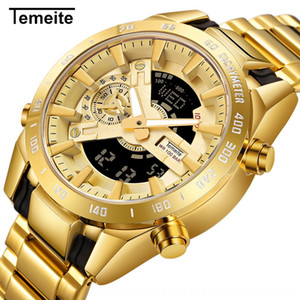 alTli TEMEITE TEMEITE nuevo reloj de doble movimiento lámpara de mano de elevación de los hombres de múltiples funciones linterna electrónica de la correa de acero de la linterna LED de los hombres elegidos