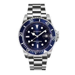 Ananke вскользь Марка Водонепроницаемый Кварцевые часы Мужчины из нержавеющей стали Спортивные часы Часы Человек Relogio Мужчина для