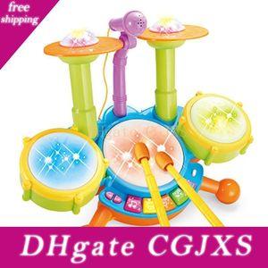 Toy Musica Leggera Bambini S elettrica con microfono Jazz Drum Set elettronico percussione strumento musicale dei bambini educativi