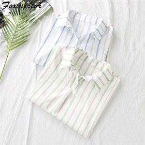 Camicie Foxmertor camicetta allentata donne di estate a righe manica corta Laple Top Blusa femminile Abbigliamento 2020 # 42