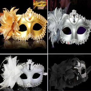 Party Masks 4 Color Halloween Lace Flower Venetian Party Masquerade Ball Carnival Eye Masks Party Makeup Costume Princess Masks Gifts WX-C05