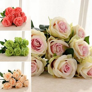 Artificial 9 Heads Non-fading-Rosen-Blumen Vivid Brautstrauß Hochzeit Desktop-OIrnament Beautiful Home Dekoration tsaa #