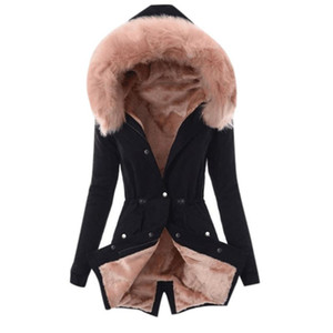 المرأة أنثى سترات الشتاء الدافئة هوديس معطف سماكة فو الفراء أزياء المرأة أبلى فام ستر للمرأة الملابس الشتوية