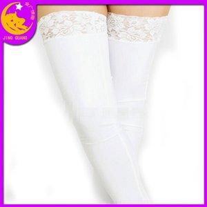 7UXcC vestiti in vernice stretto incollato sexy calze elastiche abbigliamento giocattoli regina regina pizzo pizzo nero-bordo sesso Pelle calzini calzini