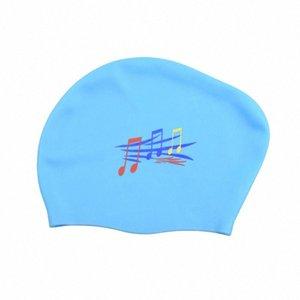 Muchacha de las mujeres de silicona gorro de baño de natación en aguas sombreros de los deportes a prueba de agua Swim Pool Water Sports Baño Caps Sombrero del tamaño extra grande para Long rOwk pelo #
