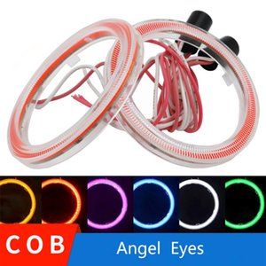 YSY 2pcs Car Angel Eyes Led Car Halo Ring Lights cob Led Angel Eyes Headlight for Motorcycle With Cover White Red DC 12V 3W