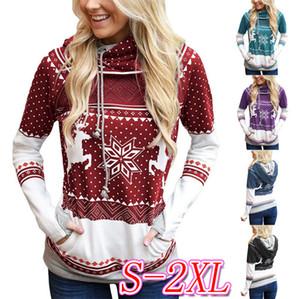 Elk navidad del copo de nieve impresa de las mujeres con capucha sudaderas diseñadores dedo suéter con ocasional del bolsillo de los deportes de otoño Sudaderas Tops Venta D9305