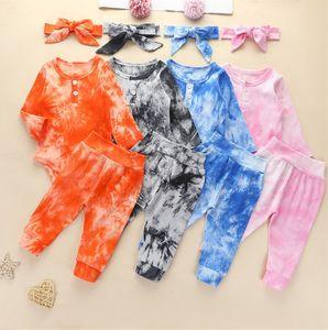 Bebek Tulumlar Bebek Erkek Tasarımcıları Giyim Kravat-Boya Çocuk Giyim Bebek Hoodie Tulum Kazak Pantolon Tayt Bantlar Bodysuits Set D82505