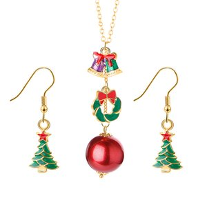 2020 Cute Christmas Jewelry Sets Snowflake Bells Dangle Earrings Necklace Hypoallergenic Christmas Gifts for Women Girls Holiday Jewelry