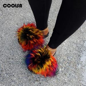 Verão Fluffy Raccoon Fur Chinelos Shoes mulheres reais Fox Fur Flip Flop Plano furry Slides Outdoor Sandálias mulher incrível Shoes