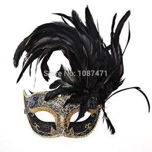 nova moda de Natal mulheres sexy Metade partido rosto de casamento da princesa mascarada máscaras da pena bola italian dia das bruxas
