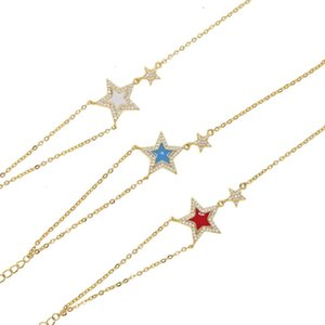 New arrived gold filled blink double stars white blue red stone cz paved delicate minimalism 2 chain women bracelets lover gift