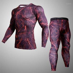 Sport Survêtements Slim Compression Leggings manches longues T-shirts 2PCS sport Sets de mode coloré Homme Vêtements Hommes camouflage Skinny