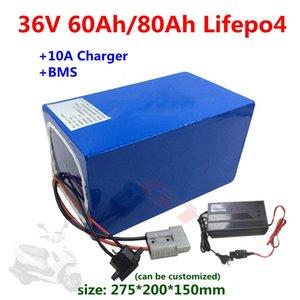 GTK 36V 60Ah 80Ah batterie LiFePO4 lithium BMS 12s pour scooter tricycle électrique ebike + 10A Chargeur