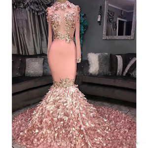 Elegant Long Sleeves Prom Dresses 3D Floral Appliqued Mermaid Pink Black Girls Court Train Plus Size African Evening Gowns Formal Wear