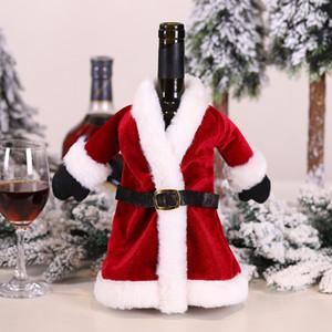 Rosso Natale bottiglia cappotto mantello vino sacchetto della copertura si blocca Decorazioni di Natale Parte festa di casa nave decorazione goccia