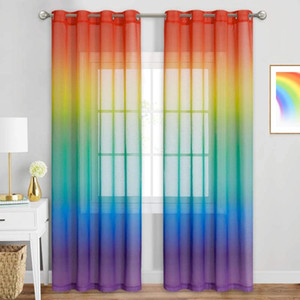Colorful Rainbow Gradient Sheer Curtain for Living Room Wedding Party Decoration Organza Country Style Tende Gothic Home Decor