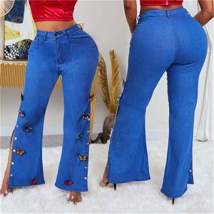 Женская Дизайнерская Бабочка Вышивка Лоскутная Джинсы с высокой талией Карманы Сплит Flare джинсы Мода Сыпучие джинсы для женщин