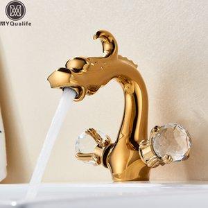 Dragón chino del grifo del lavabo de baño del recipiente del fregadero grifo cubierta montada de doble cristal manija caliente agua fría Mezcladoras