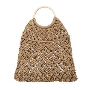 Designer-Damenmode-Stroh Woven Tasche Solid Color Handbag Knopf-Dekoration Wilde Hohle Strand-Beutel-Leinen Hauptmaterial Hot 16. April