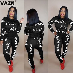 VAZN Autumn Sport O-neck Letter Comfortable Sexy 2019 Set full sleeve 2 Piece Sets Night Club Young Lady Sport Sets X0924