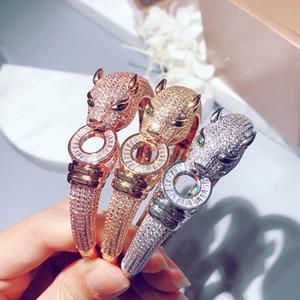 Hot brand S925 silver-plated leopard bracelet high-quality 5A zircon full diamond bracelet trend temperament couple luxury bracelet