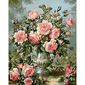 Wall Decor 16x20'' Frameless DIY Paint by Numbers for Adults Flower Peony Canvas Oil Painting