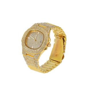 Men Hip Hop Zircon Watch Full Diamond Bling Bling Simulated Lab CZ Luxury Gold Silver Watch & Zircon Bracelet
