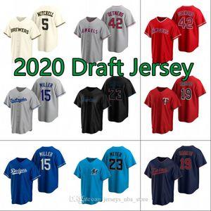 2020 مشروع البيسبول جيرسي 42 ريد Detmers 15 بوبي ميلر 23 ماكس ماير 5 غاريت ميتشل 19 هارون ساباتو مخيط الفانيلة S-XXXL 04