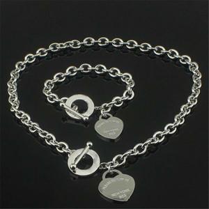 Declaración de regalos de Navidad 925 collar de plata del amor + pulsera de boda joyería del corazón collares pendientes brazalete Sets 2 en 1