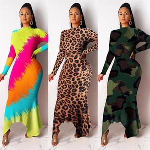 Beiläufige Kleider Sexy Tigh Kragen Leopard-Tarnung druckte dünnes Kleid asymmetrisches Bydcon Langarm-Designer Damen Enge