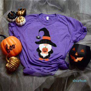 Hot Sale Halloween Pumpkin lantern Womens Designer Tshirt Summer Short Sleeve Crew Neck Pullover Tops Breathable Female Clothing