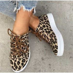 Женщины Плоский зашнуровать Холст Женская обувь Осень Leopard Женская обувь Dropshipping Soft Повседневная Мелкая Summer Walking Sneaker