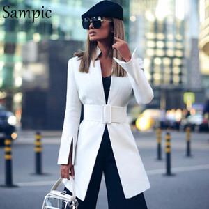 Sampic мода поворот вниз colllar женщин случайные свободные осенние негабаритные створка пиджак пиджак платье с длинным рукавом белые длинные блейзеры