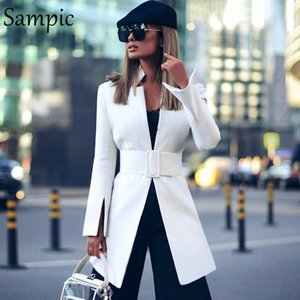 Sampic بدوره الموضة باستمرار من شأن المرأة colllar عارضة الخريف فضفاضة الزنانير المتضخم سترة اللباس سترة طويلة الأكمام بيضاء طويلة الحلل