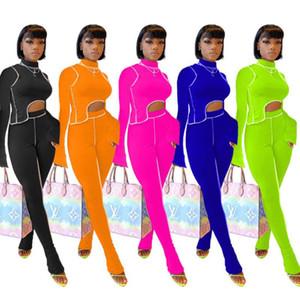 Новые женщины Streetwear двухкусочных наряды Solid Color Line Тонкой Ночной клуб группа Подходит вскользь тенниска карандаш брюки Мода Tight Брюки Set