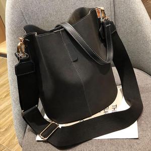 Black Messenger bags Big Women handbags Bucket Shoulder Bags Vintage Matte PU Leather Lady Handbag Designer bolsos mujer