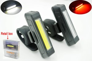 High quality USB Rechargeable Head Light COB Bike Bicycle Front Rear Tail Helmet Lamp Handlebar Frame tube Flashing 6 Mod lights