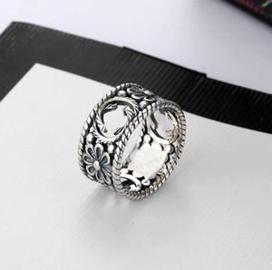 Hot sale marque de mode charme Bijoux argent 925 G Simple Ring Ring Letters Rétro creuse Hip Hop Punk Party Bague Accessoires Cadeau