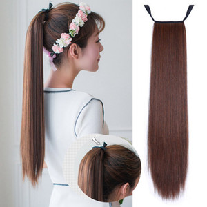 Women Hair Extensions Long Straight Clip In Tail False Hair Ponytail Hairpiece With Hairpins Synthetic Pony Tail Extensions