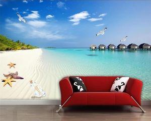 Custom 3D Photo Wallpaper Home Decor HD Seaside Beach Shell TV Background Wall Paper Mural 3d Landscape Wallpaper