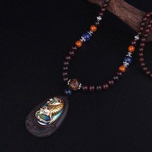 Черного палисандр ювелирных изделий женщина дерева ювелирного изделия ожерелье года сбор виноград, Маленький карп прыгает портальную перламутровый блеск Будда этнического ожерелье 03kp #