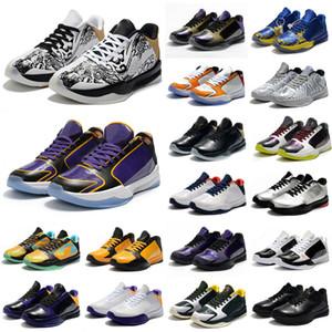 عالية الجودة للأطفال نساء رجال مامبا V لوس انجليس ليكرز رياضة 5 الاصدار أحذية كرة السلة Protro مامبا الأسود 2K خمسة حذاء رياضة حجم 36-46