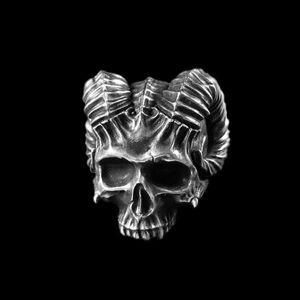 EYHIMD Benzersiz Boynuzlu Şeytan Kafatası Halka Gotik Kaya 316L Paslanmaz Çelik Biker Halkalar Punk Takı