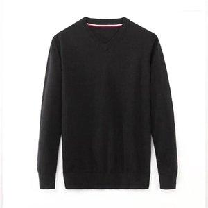 Мужские дизайнерские свитера мода свободные пуловер V шеи мужские свитеры повседневный с длинным рукавом мужчин одежда сплошной цвет
