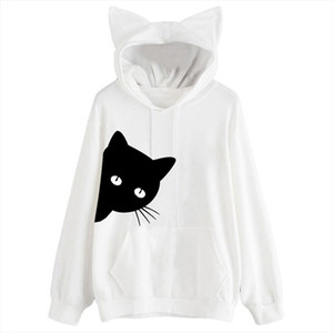 Harajuku Cat Kawaii Hoodie Lolita Junior Cute Ear Hoody Pullover Student Girls Spring School Clothes Anime Lovely Paws Tops 5%
