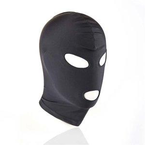 Bondage nero Bdsm Mask giocattolo del sesso del prodotto Fetish Sm Coppia Uomini Donne Cappuccio Bocca Occhio Schiavo adulta del gioco