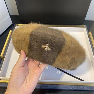 Women Hat Wool British Retro Beret Caps Female Gold Bee Fur Warm Beanie All Matched Adjustable bonnets